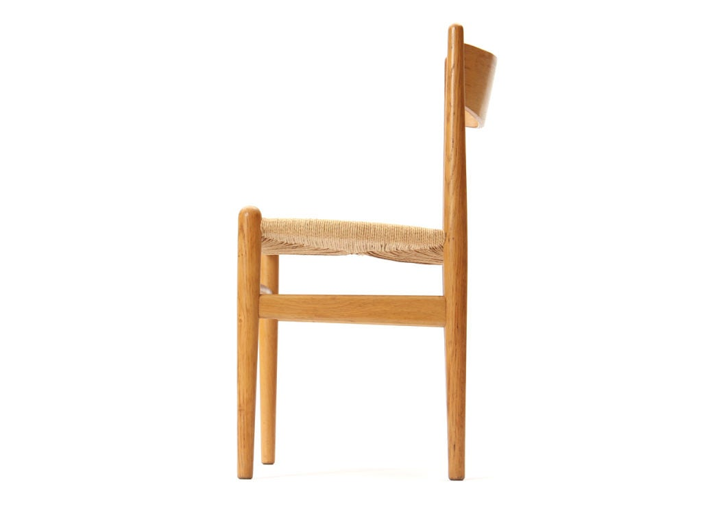 Danish Oak and Papercord Chairs by Hans Wegner For Sale