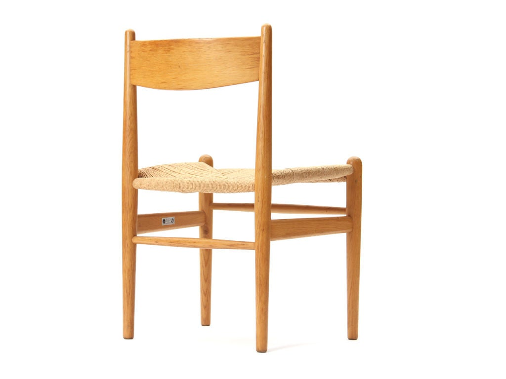 Oak and Papercord Chairs by Hans Wegner For Sale 1