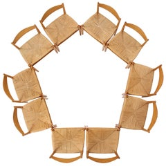 Oak and Papercord Chairs by Hans Wegner