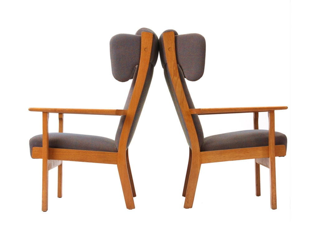 Oak Wingback Armchair by Hans Wegner For Sale