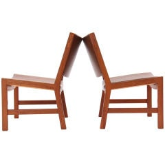 Pair of Low Lounge Chairs by Hans Wegner