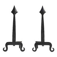 Wrought Iron Spear Andirons