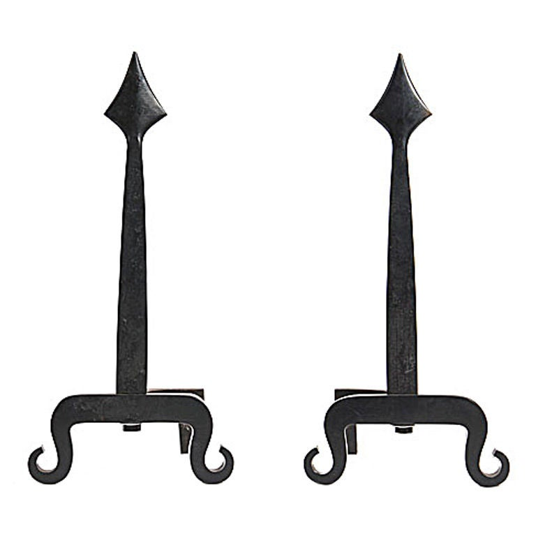 Wrought Iron Spear Andirons For Sale