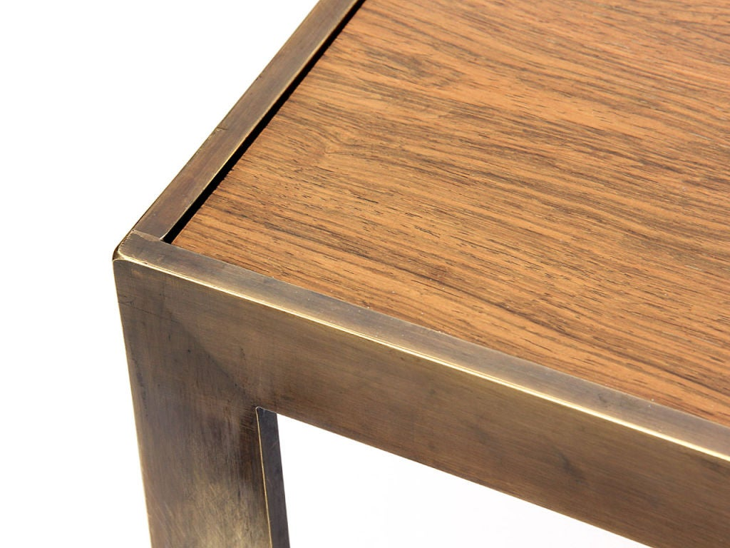 American Brass Framed Rosewood Side Table by Roger Sprunger for Dunbar For Sale