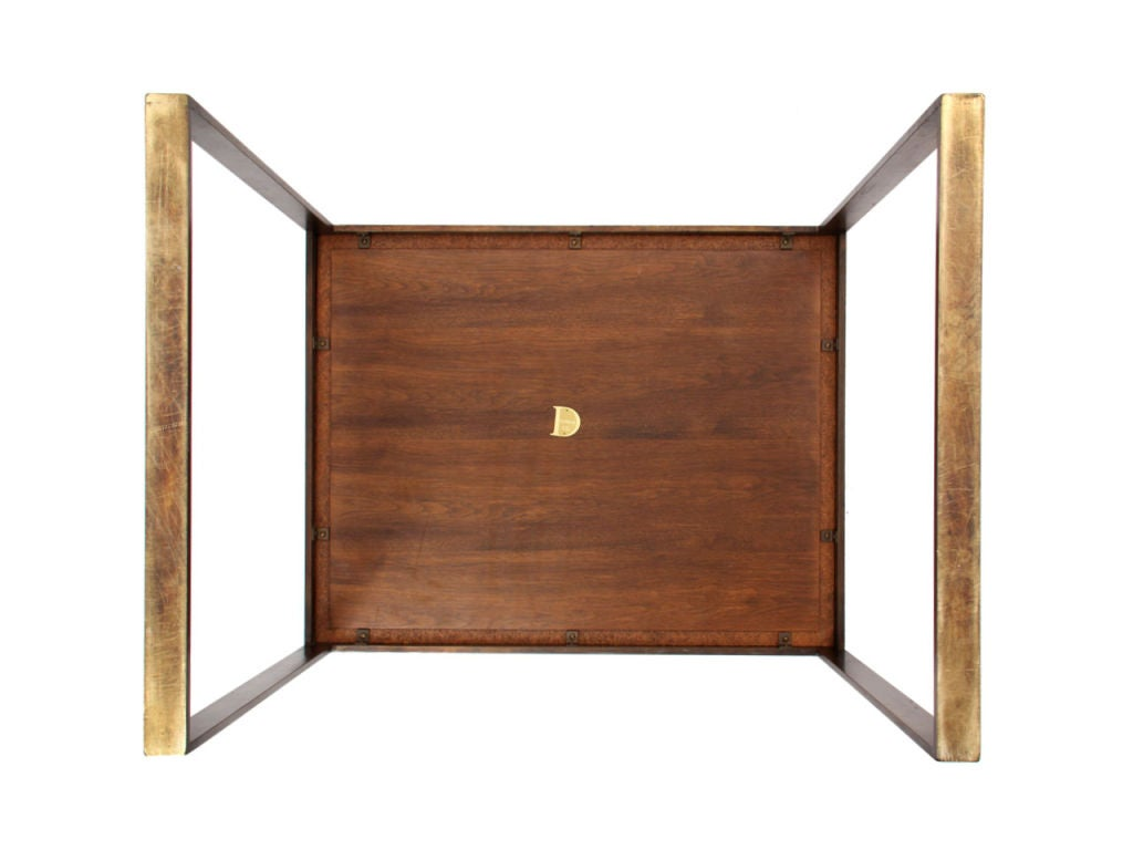 Mid-20th Century Brass Framed Rosewood Side Table by Roger Sprunger for Dunbar For Sale