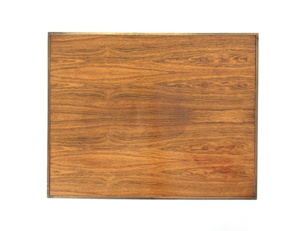 Brass Framed Rosewood Side Table by Roger Sprunger for Dunbar For Sale 1