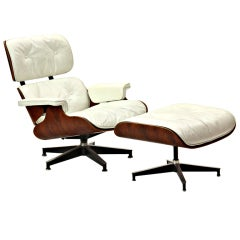 White Leather Lounge By Charles Eames