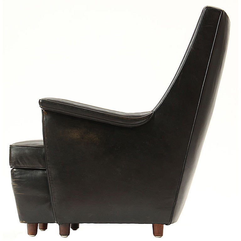 this black leather easy chair by lysberg hansen therp is no longer