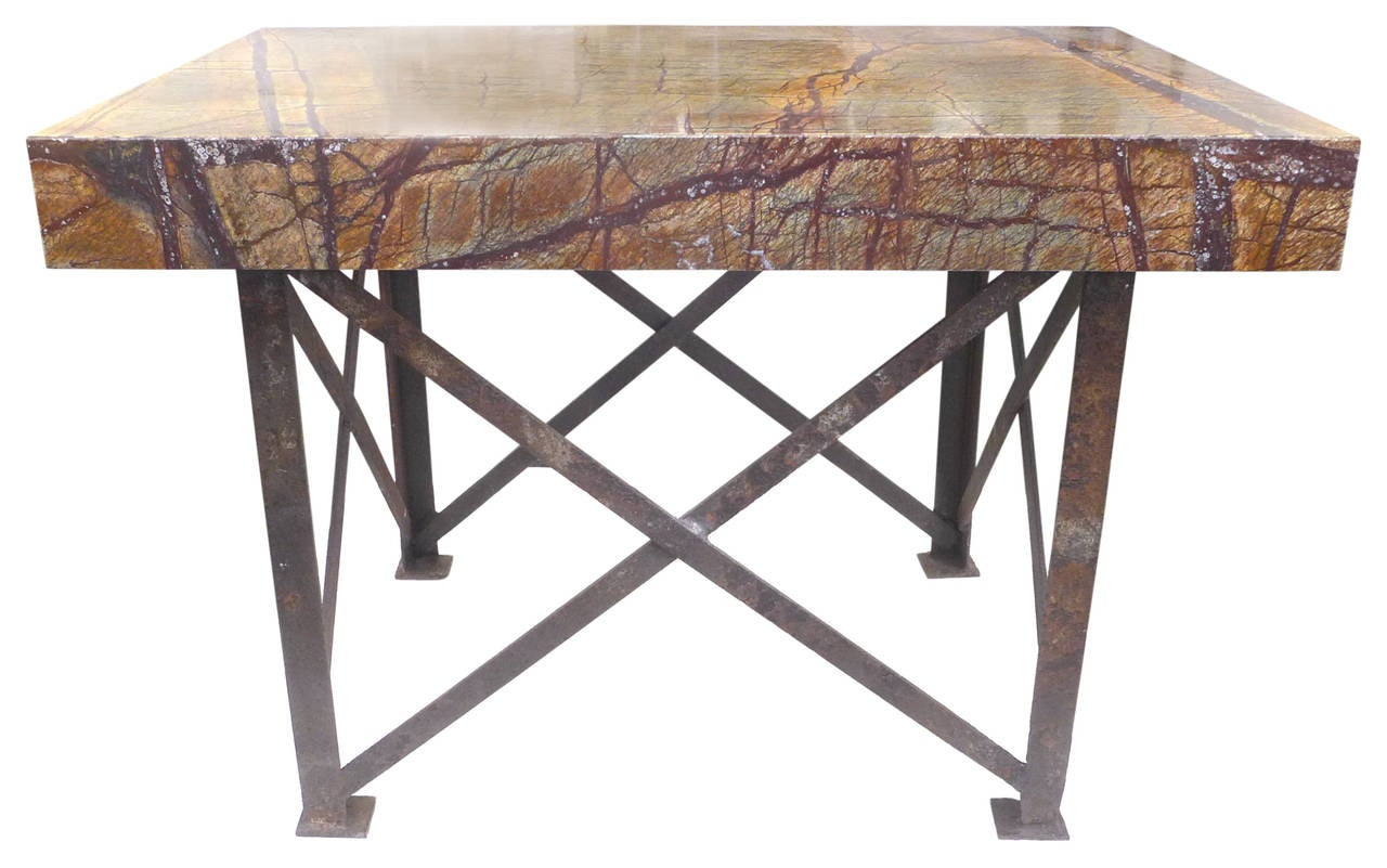industrial marble top console table for sale at 1stdibs. Black Bedroom Furniture Sets. Home Design Ideas