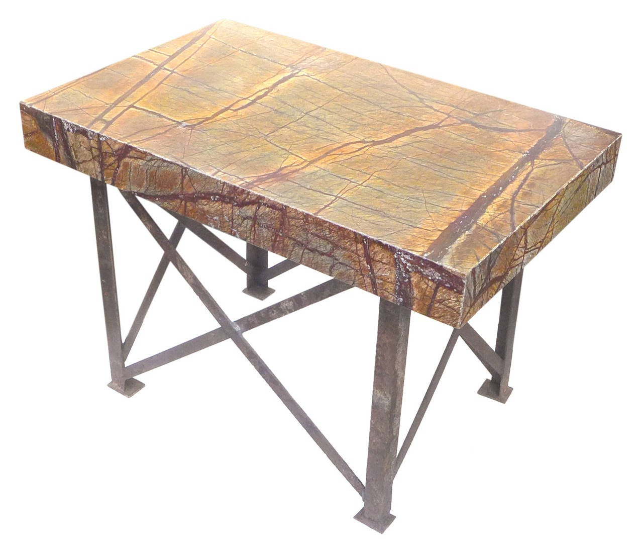 Industrial Marble Top Console Table For Sale At 1stdibs