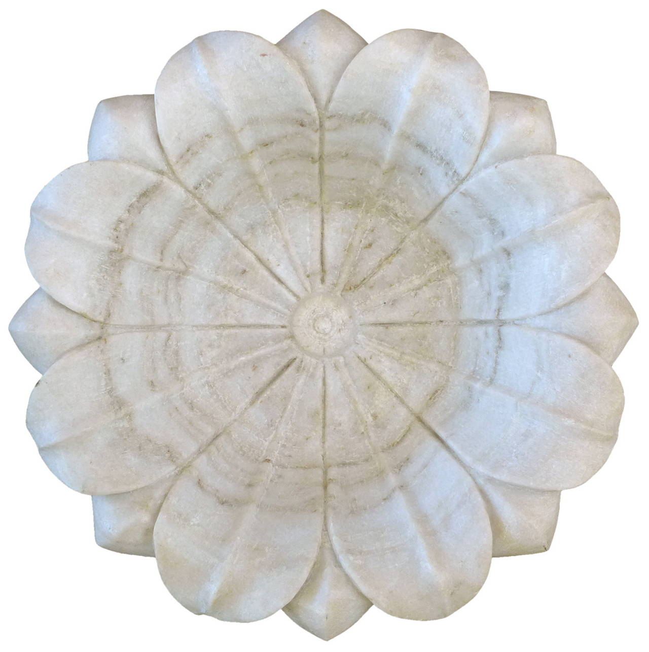 Large carved stone flower bowl at stdibs