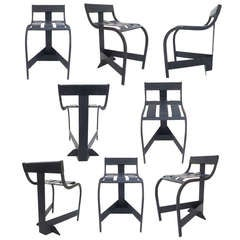 Set of 8 Welded Steel Modernist Outdoor Chairs