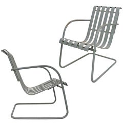 Pair of Metal Outdoor Lounge Chairs