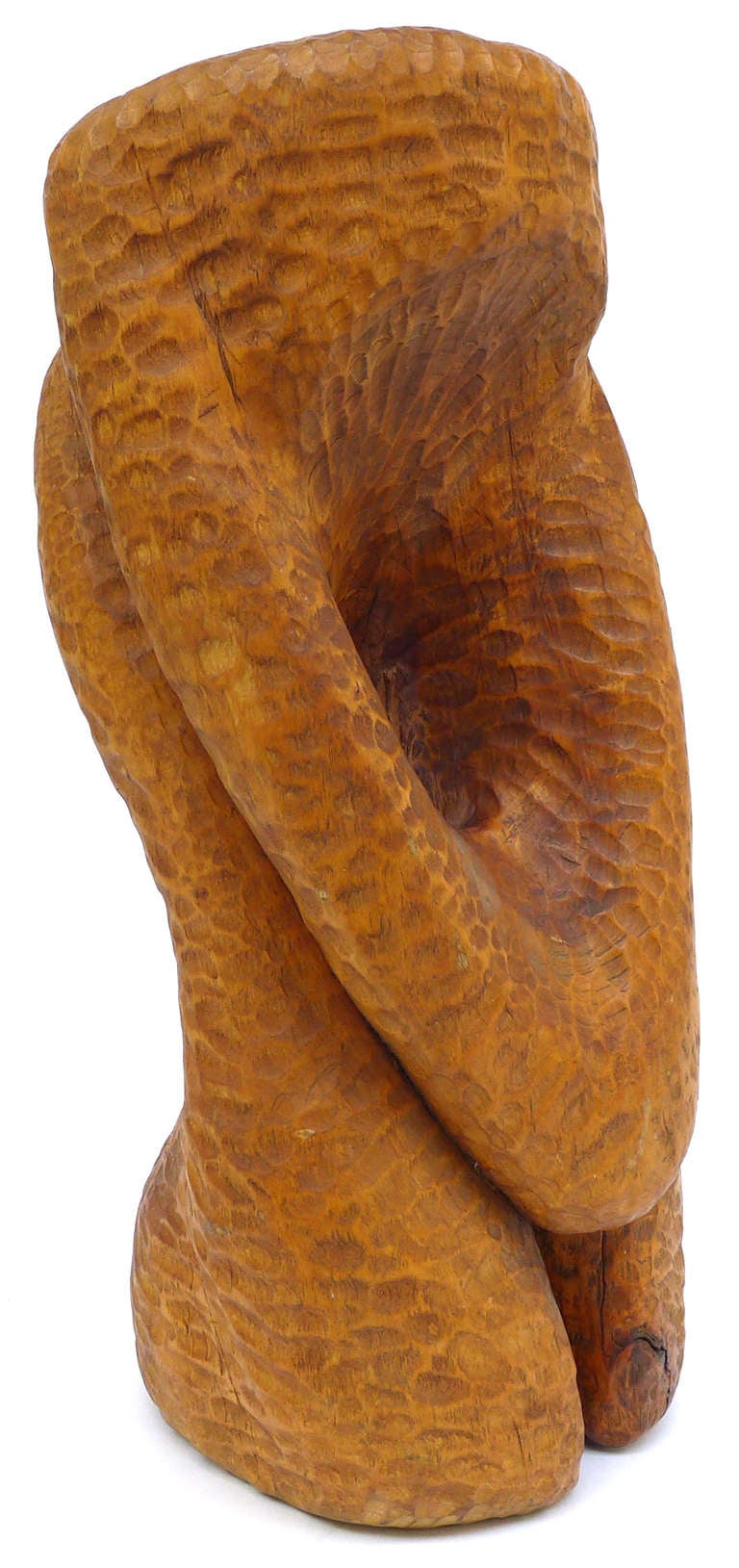 A fantastic and large biomorphic chip carved wood sculpture by the New England sculptor, Barbara Chappel. A wonderfully organic form with a carved perforation and spectacular, complex surface. Beautifully executed. Unsigned.