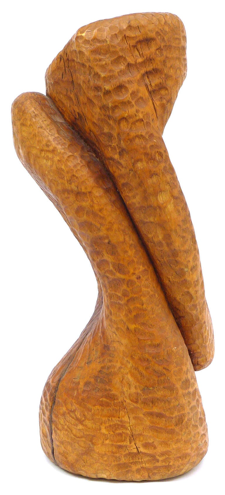 Mid-Century Modern Spectacular Biomorphic Chip Carved Wood Sculpture For Sale