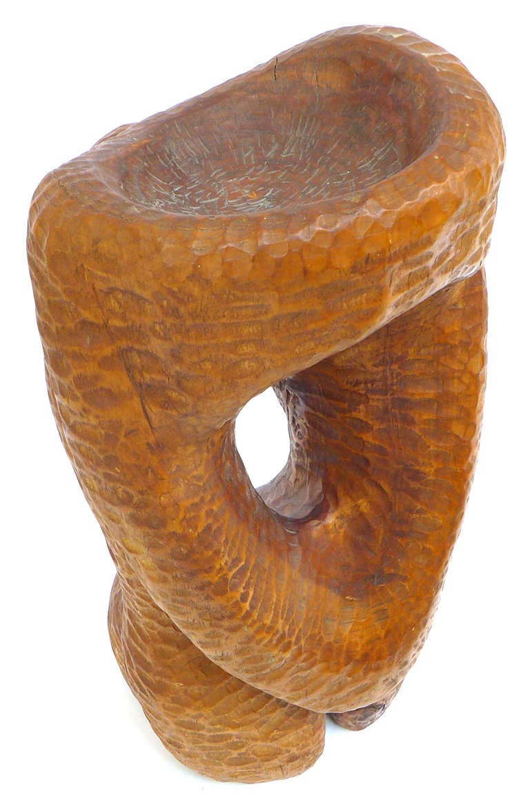 Spectacular Biomorphic Chip Carved Wood Sculpture For Sale 1