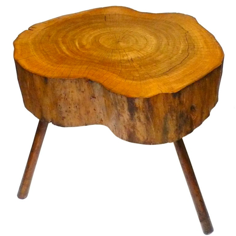 Bimorphic white oak tree trunk table at 1stdibs - Tree trunk table and chairs ...