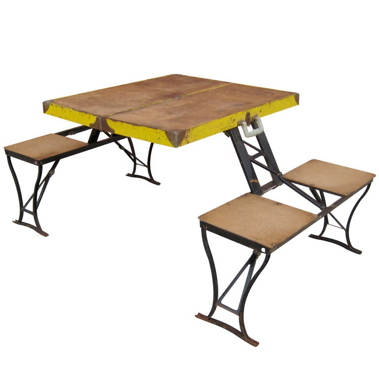 Portable Folding Table With Bench Seats At 1stdibs