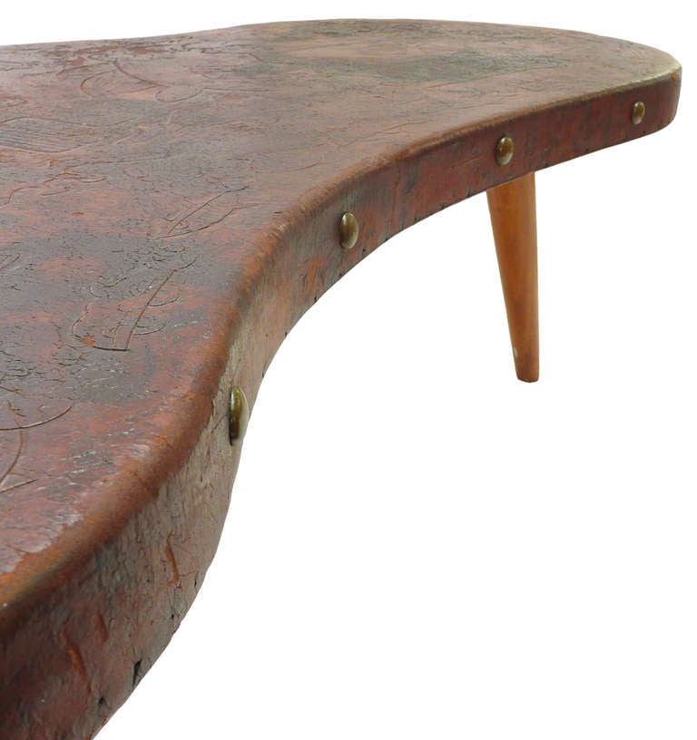 Extraordinary Hand Tooled Leather Coffee Table Image 5