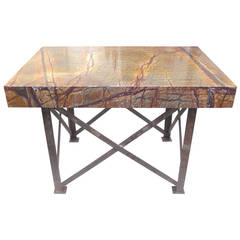 Industrial Marble-Top Console Table