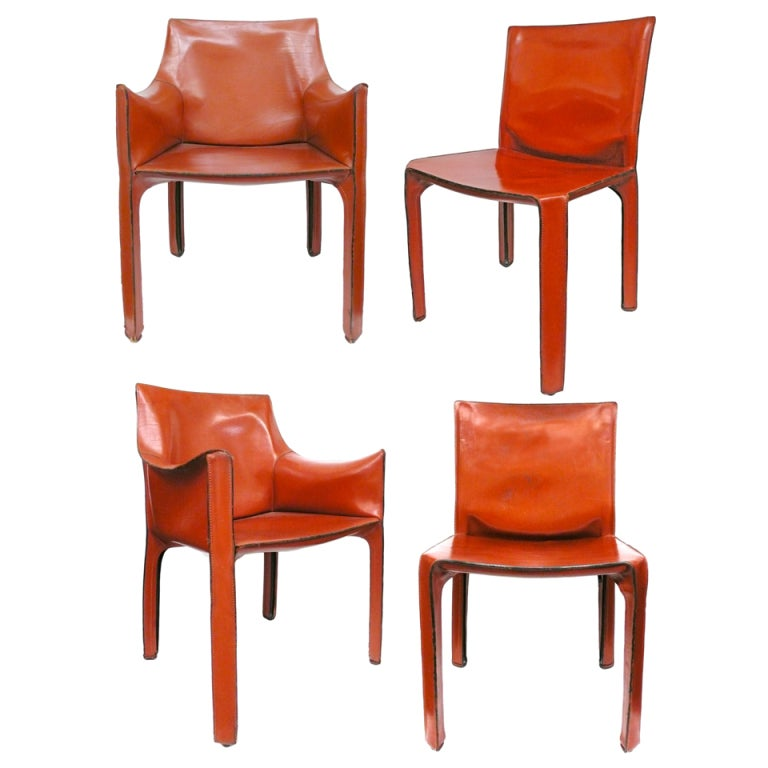 set of four vintage cab chairs by mario bellini for cassina 1