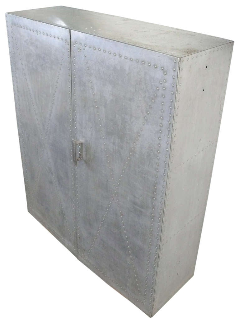 Custom-Made Hand-Riveted Aluminum Industrial Storage Cabinet In Good Condition For Sale In Los Angeles, CA