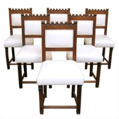 Set of 6 Leather and Oak Chairs
