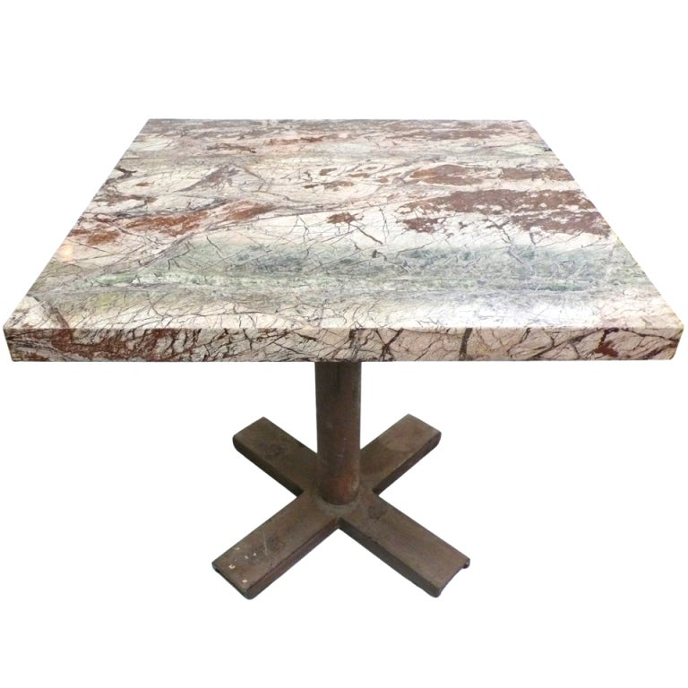 "Industrial X-Base Cafe Table With ""Rainforest"" Marble Top"