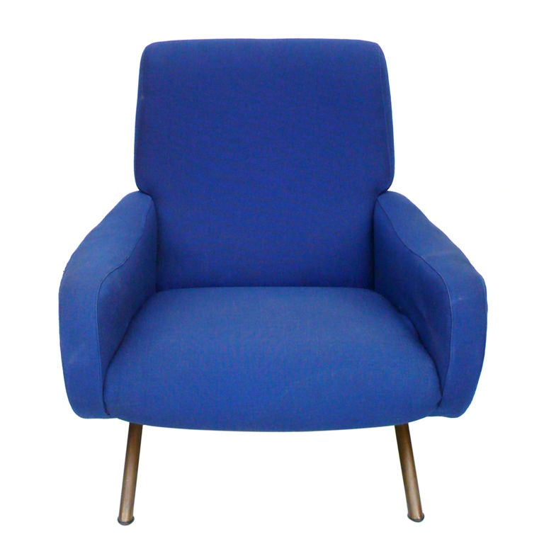 Pair of Blue Lady Chairs by Marco Zanuso image 2