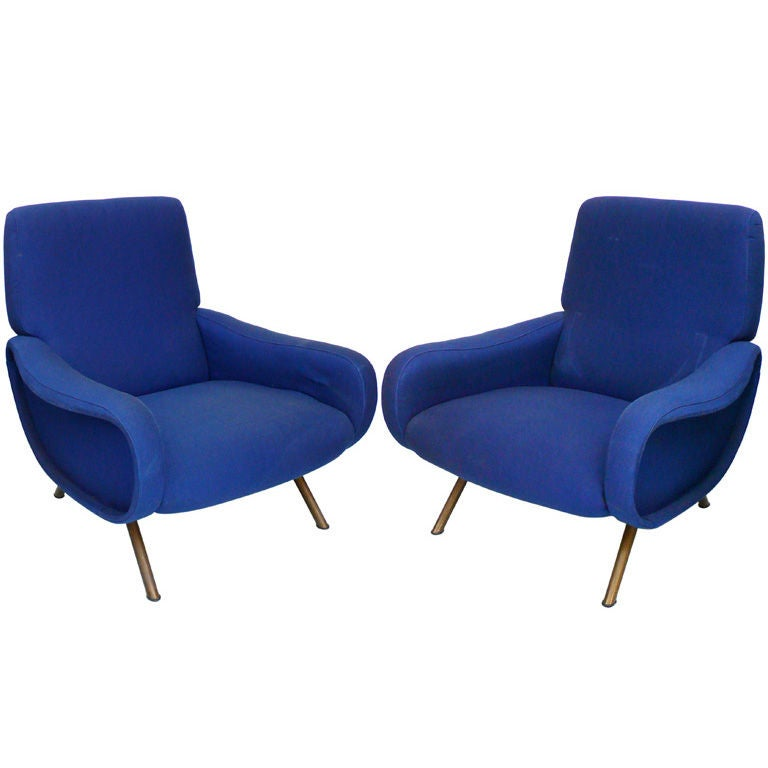 Pair of Blue Lady Chairs by Marco Zanuso
