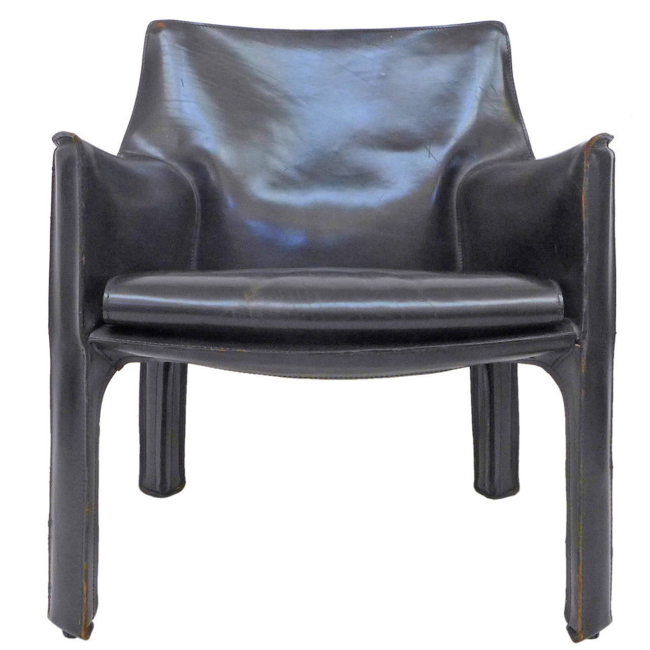 Black Leather CAB Chair by Mario Bellini for Cassina at