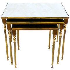 Set of Three Brass Nesting Tables