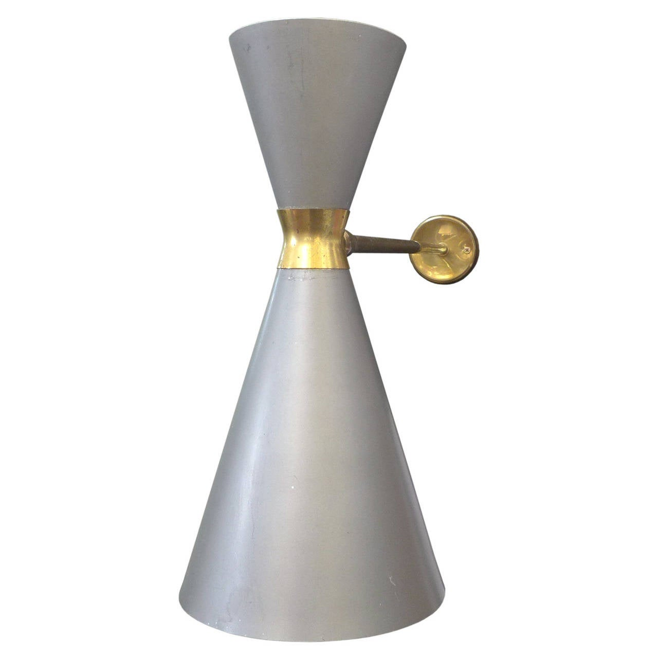 Double Light Wall Sconces : European Double-Cone Wall Sconce For Sale at 1stdibs