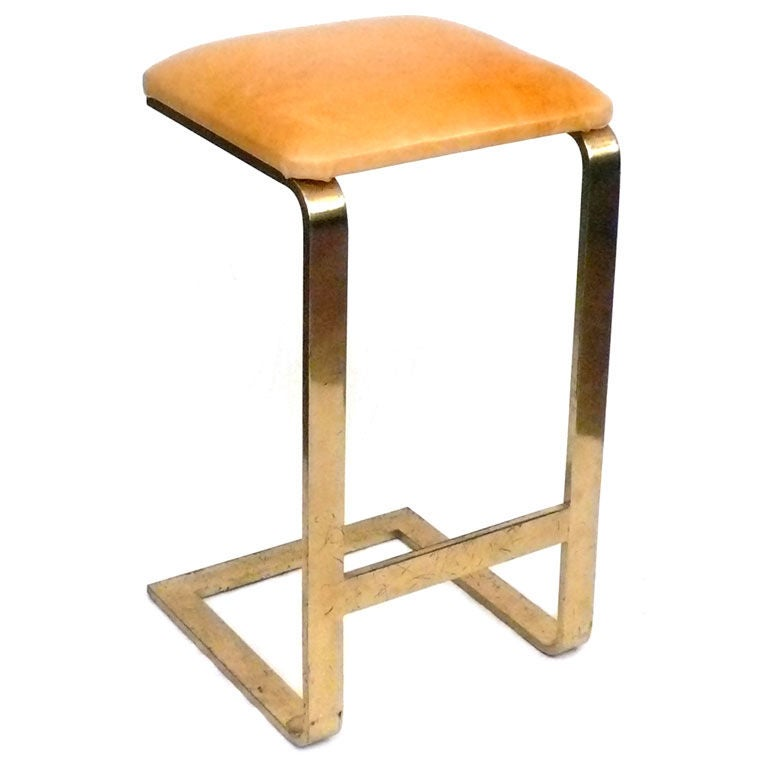 Brass And Leather Stool At 1stdibs