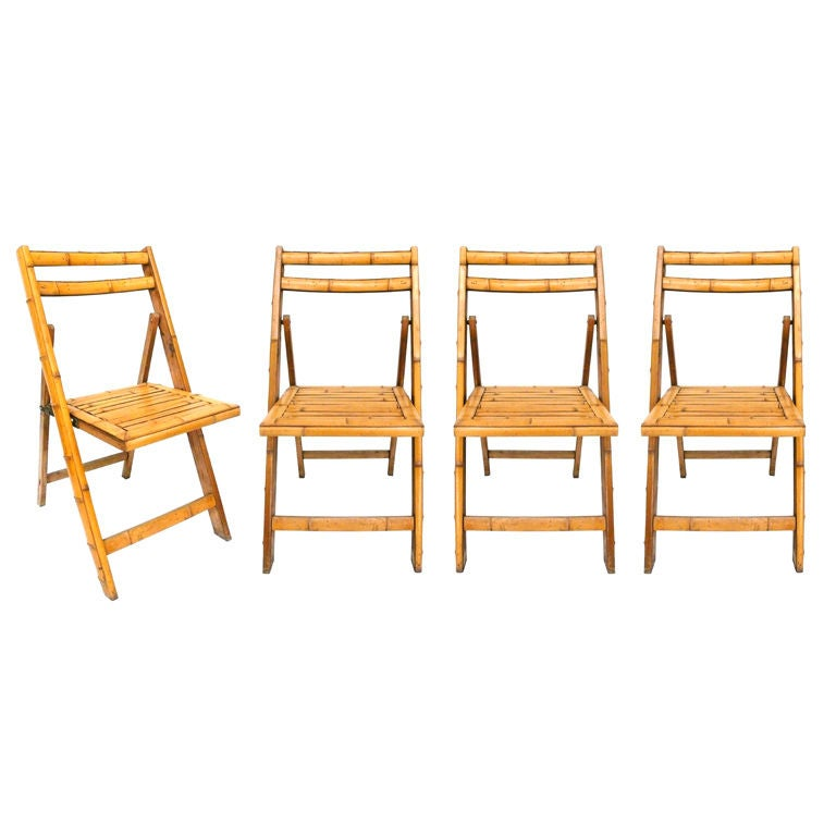 Set of Four Bamboo Clad Folding Chairs at 1stdibs