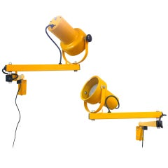 Pair of Articulated Wall-Mounting Industrial Lamps