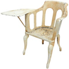 Exceptional Early 20th Century Cast Iron Chair with Paddle Arm