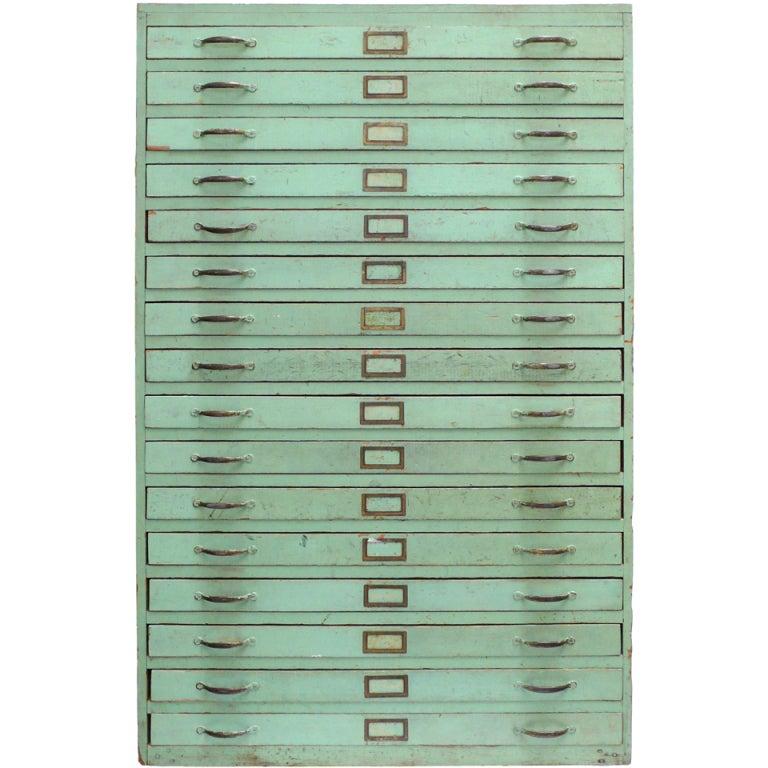 Vintage Green Flat File Storage Cabinet  1