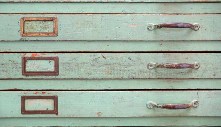 Vintage Green Flat File Storage Cabinet  6