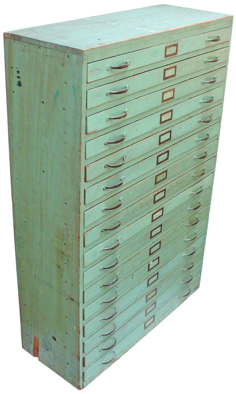 Vintage Green Flat File Storage Cabinet At 1stdibs