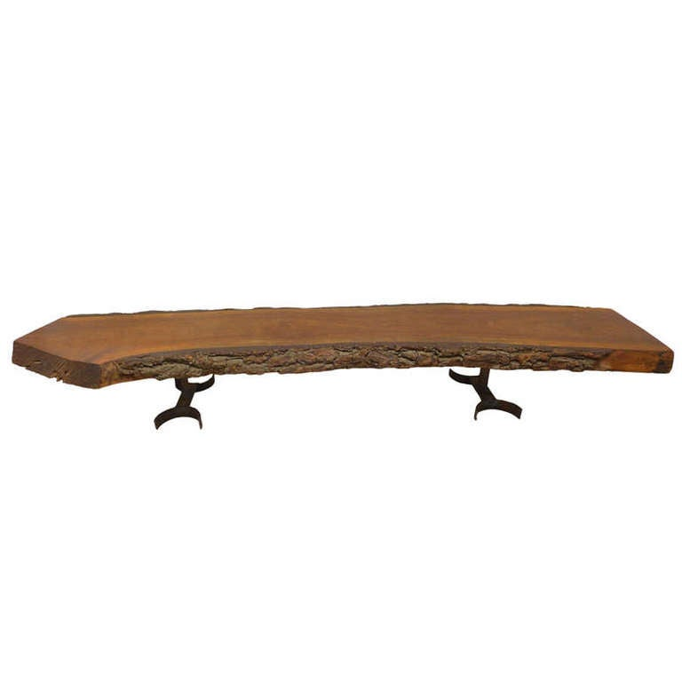 Live Edge Solid Slab Of Tamboril Coffee Table By Tunico T: Fantastic Organic Wood And Iron Table By Architect, Donald