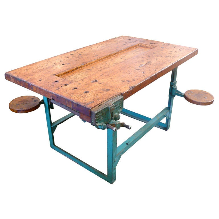 Fantastic Industrial Workbench With Articulated Seats At 1stdibs