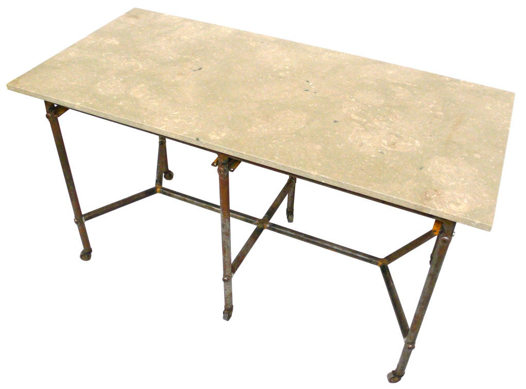 industrial rolling work table with limestone top at 1stdibs