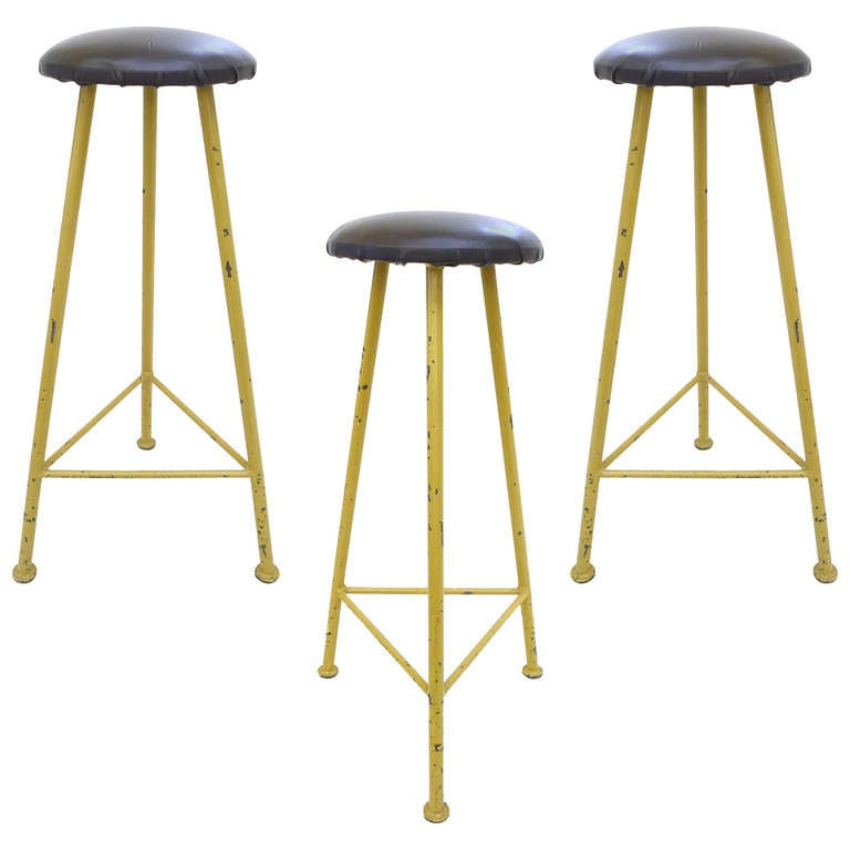 Set Of 3 European 3 Legged Stools At 1stdibs
