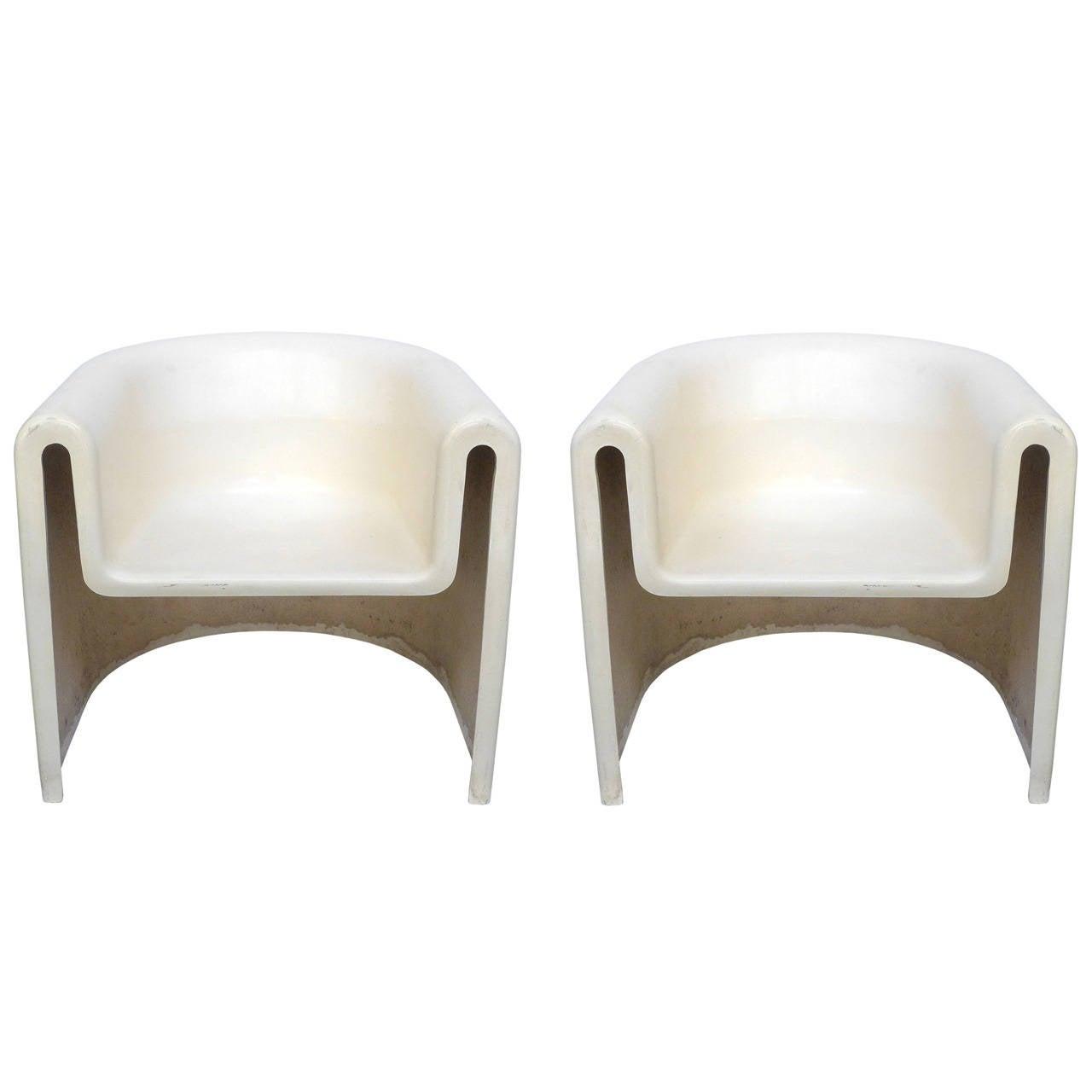 Pair of Vintage Cast Fiberglass Chairs
