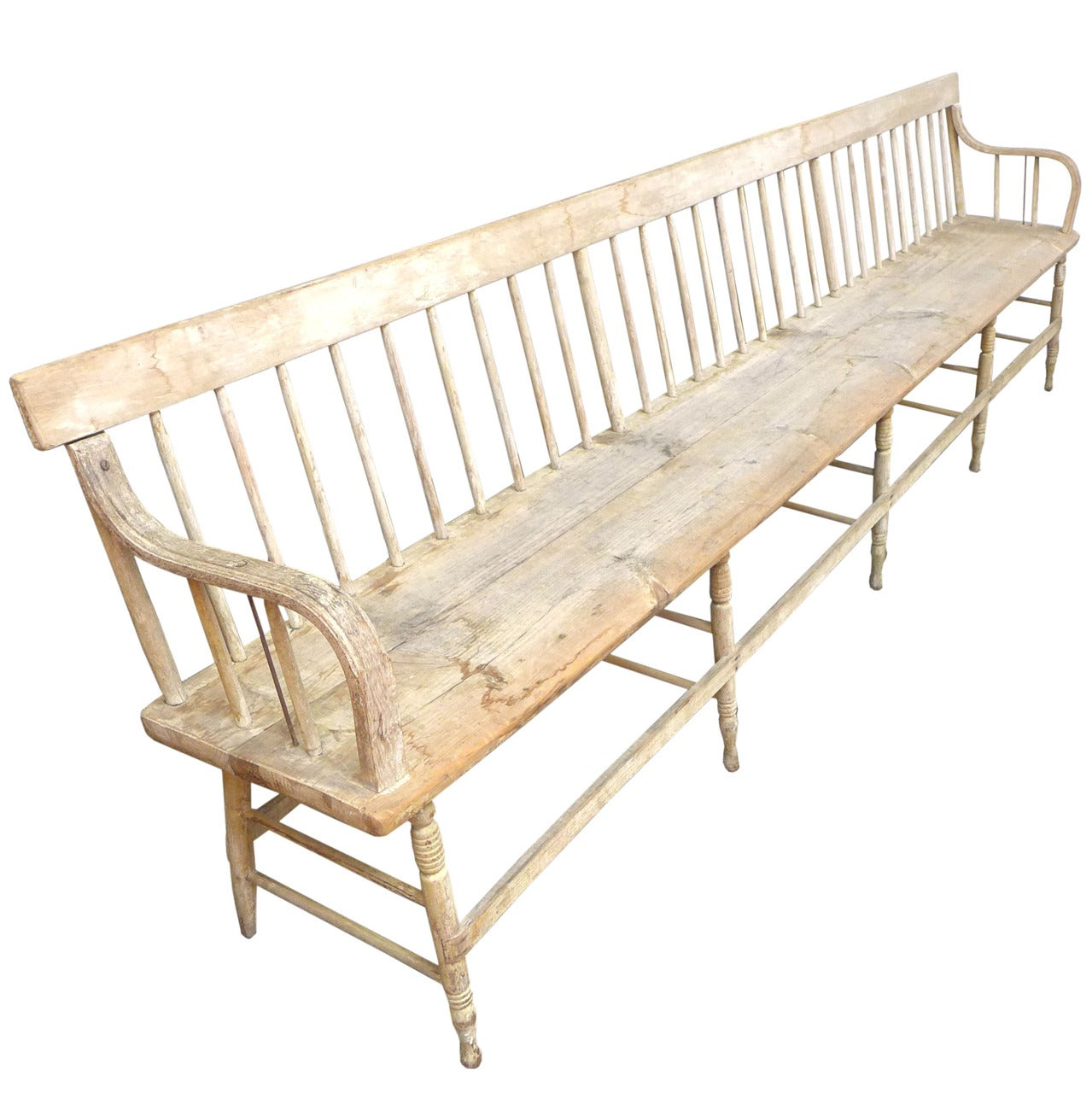 Exceptionally Long Spindle Back Americana Bench At 1stdibs