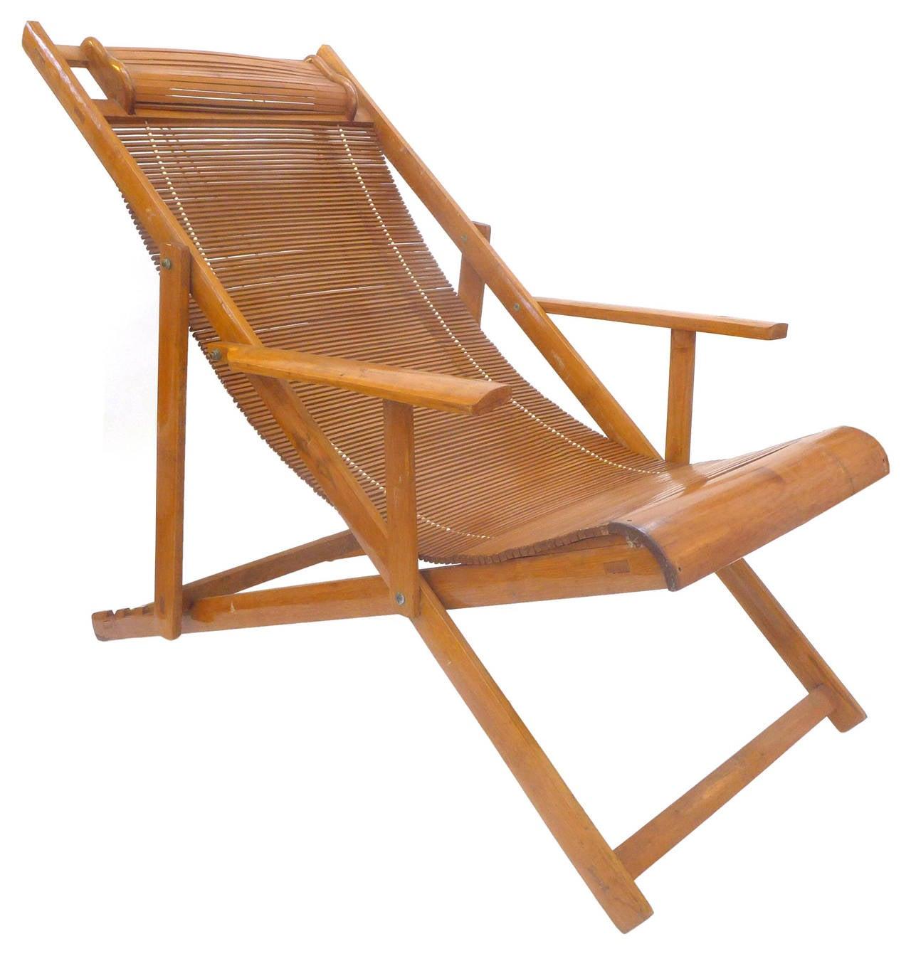 Japanese Folding Bamboo Lounge at 1stdibs