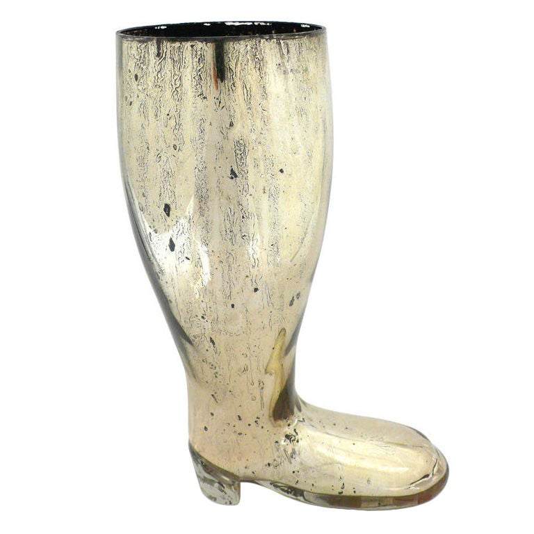 Early Mercury Glass Boot Vase At 1stdibs