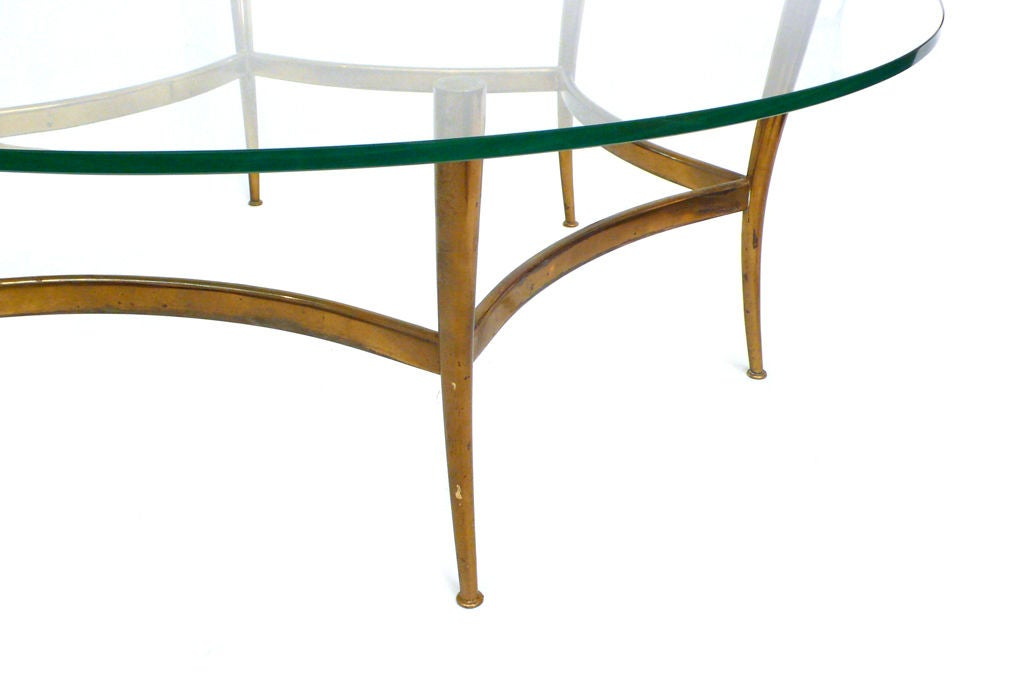 Sculptural Brass And Glass Italian Coffee Table At 1stdibs