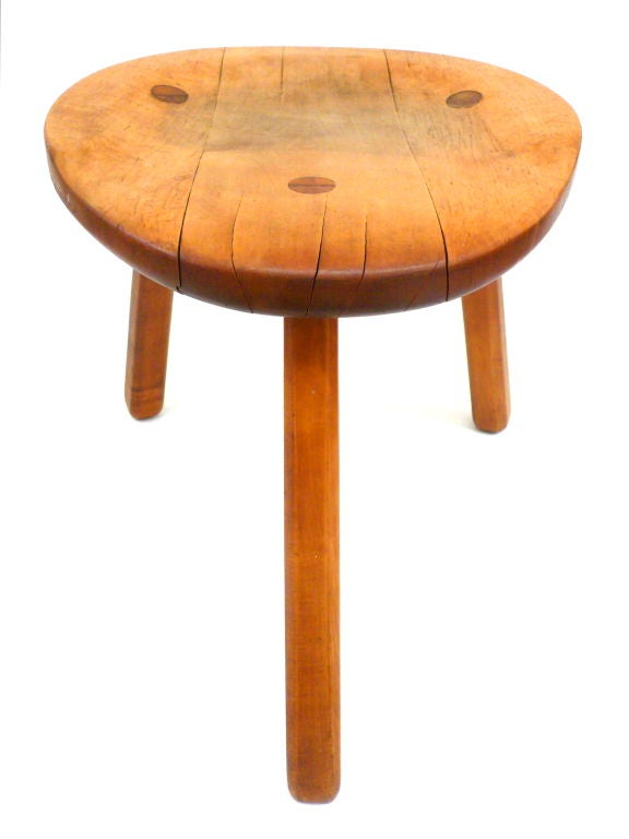 Unusual 3 Legged Stool With Sculpted Seat At 1stdibs